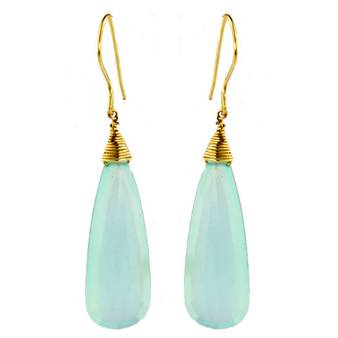 High quality long light blue chalcedony quartz drop earrings