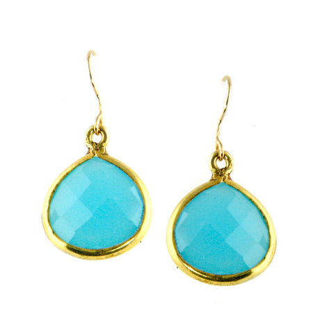turquoise colored blue chalcedony quartz pear dangles