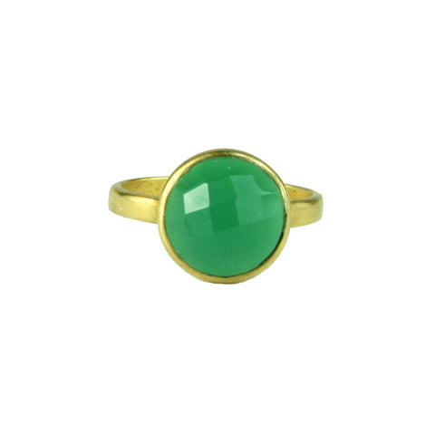 Round Faceted Green Onyx Gold Plated Ring - Made in the USA