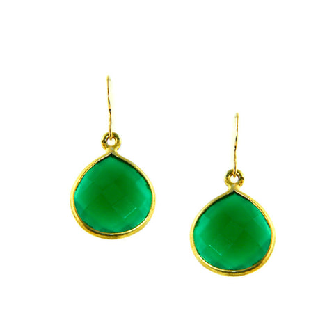 Green Onyx Emerald Colored Drop Earrings