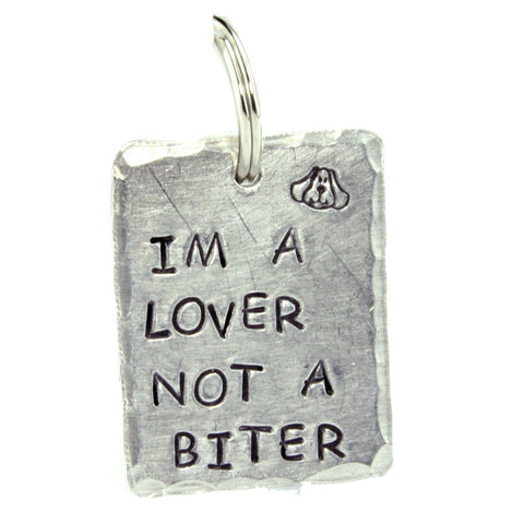 Lover Not Biter Dog Tag Made in America