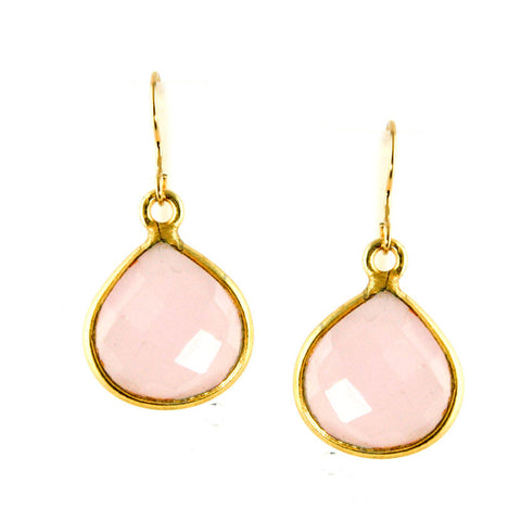Pink Gemstone Earrings Chalcedony