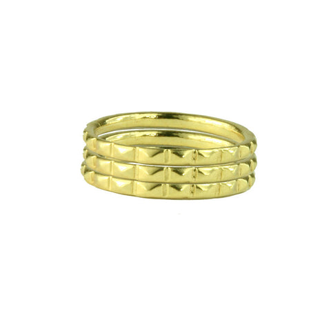 Made in America Stacking Pyramid Stud Gold Vermeil Rings