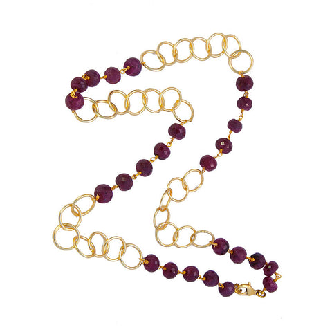 Made in America Ruby Bead and Gold Link Necklace