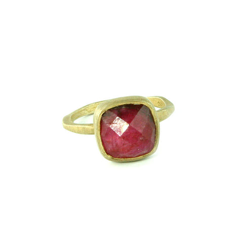 Red Ruby July Birthstone Ring in Silver - Laguna Beach