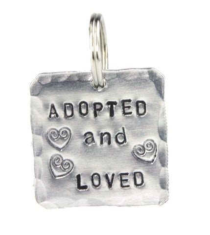 Square adopted and loved pet tag made in America