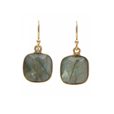 Labradorite Cushion Cut Earrings Made in America