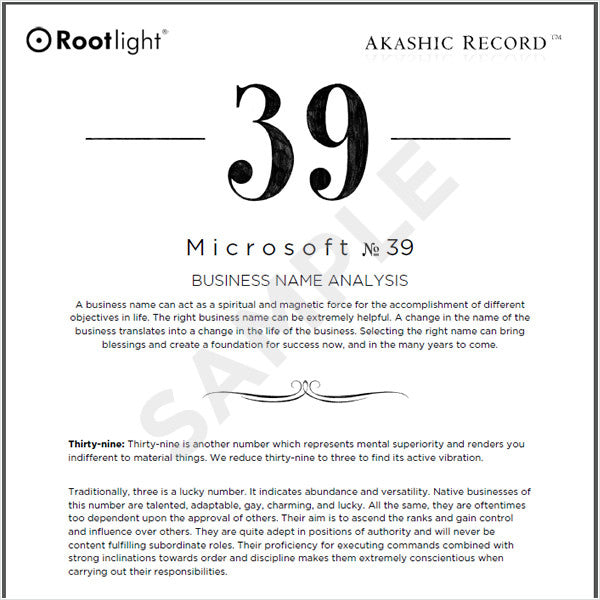 Business Name Analysis Report  Rootlight