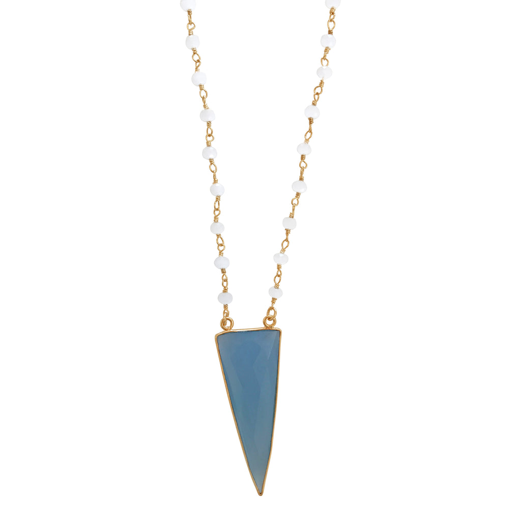Moonstone with Periwinkle Triangle Drop