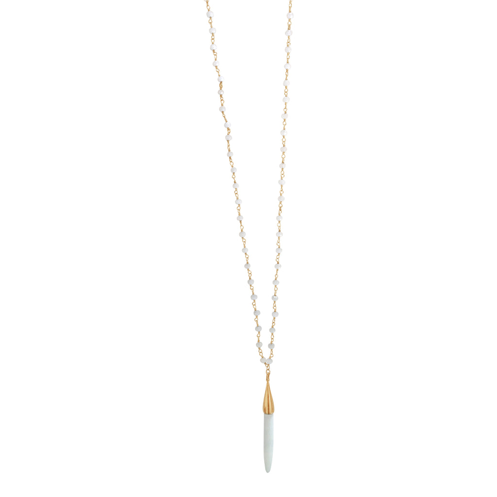Moonstone Long Necklace with White Pendant