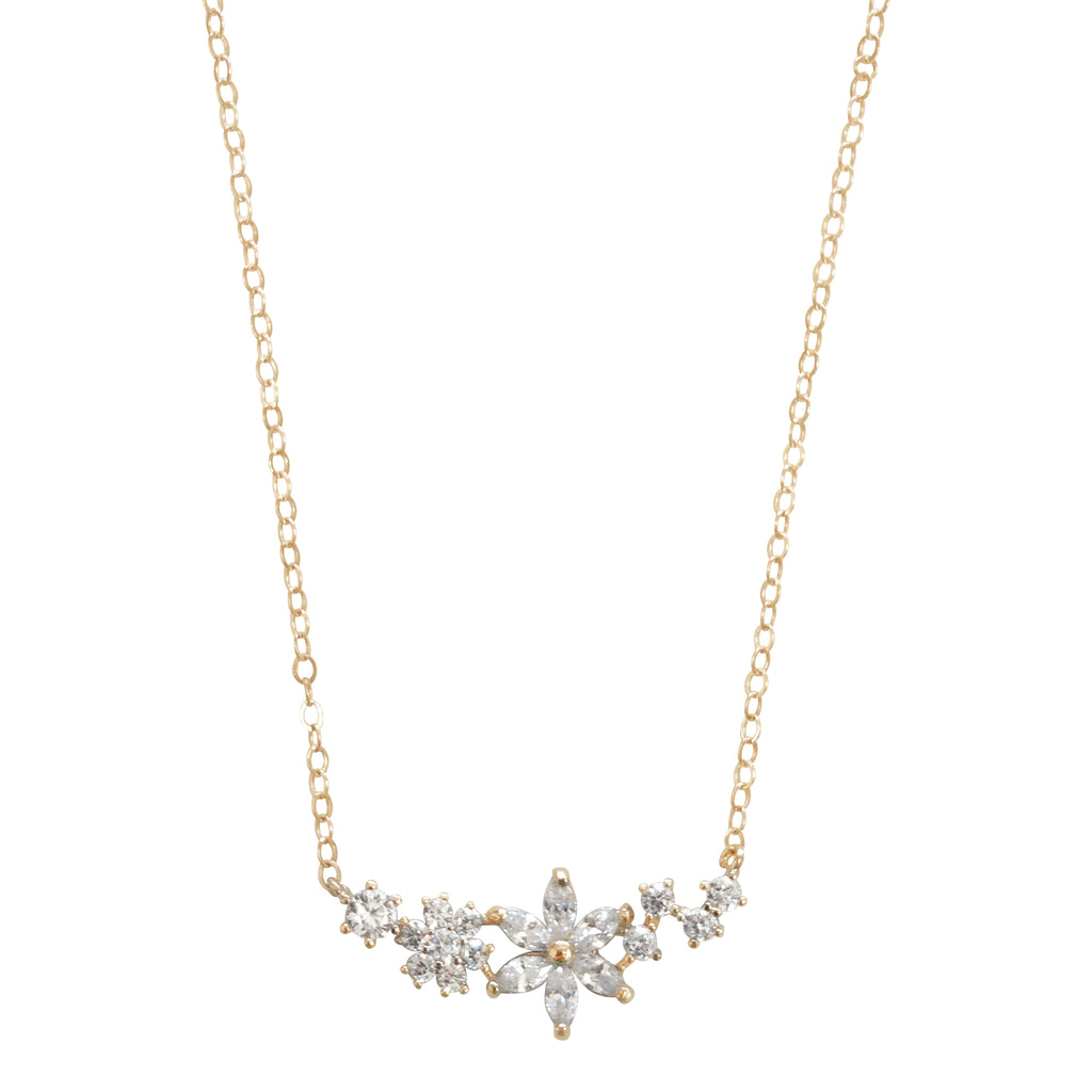 Clustered Crystal Floral Necklace