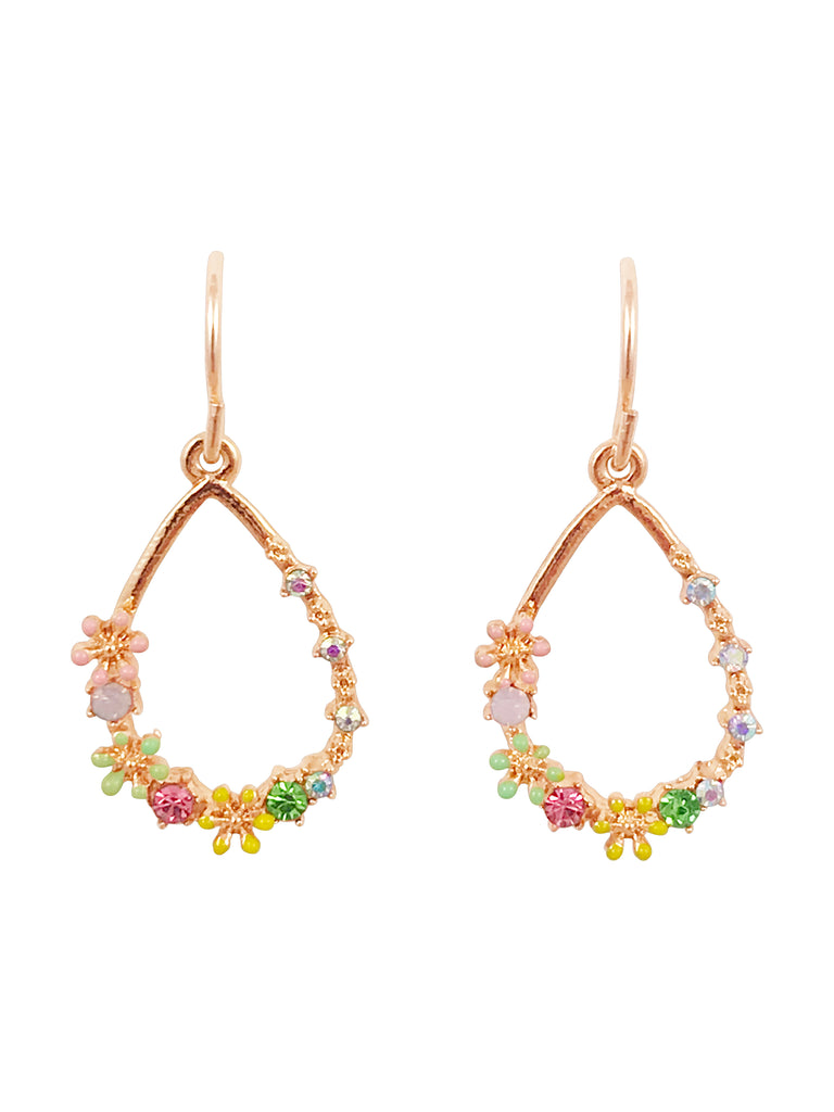 Floral Wreath Teardrop Dangle Earrings