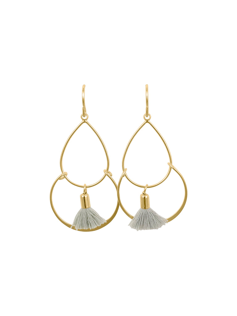 Grey Tassel Geometric Hoop Earrings
