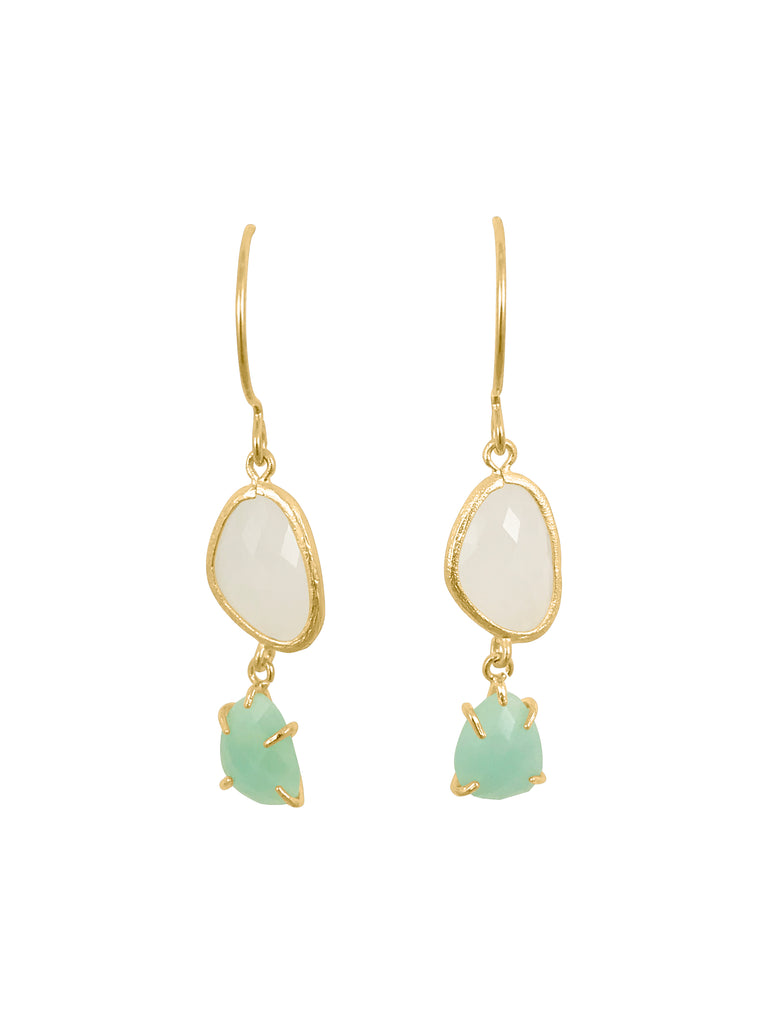 White Smoke with Light Turquoise Drop Earrings