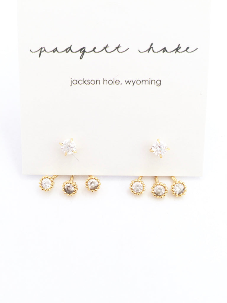 Crystal Post with Triple Crystal Ear Jacket