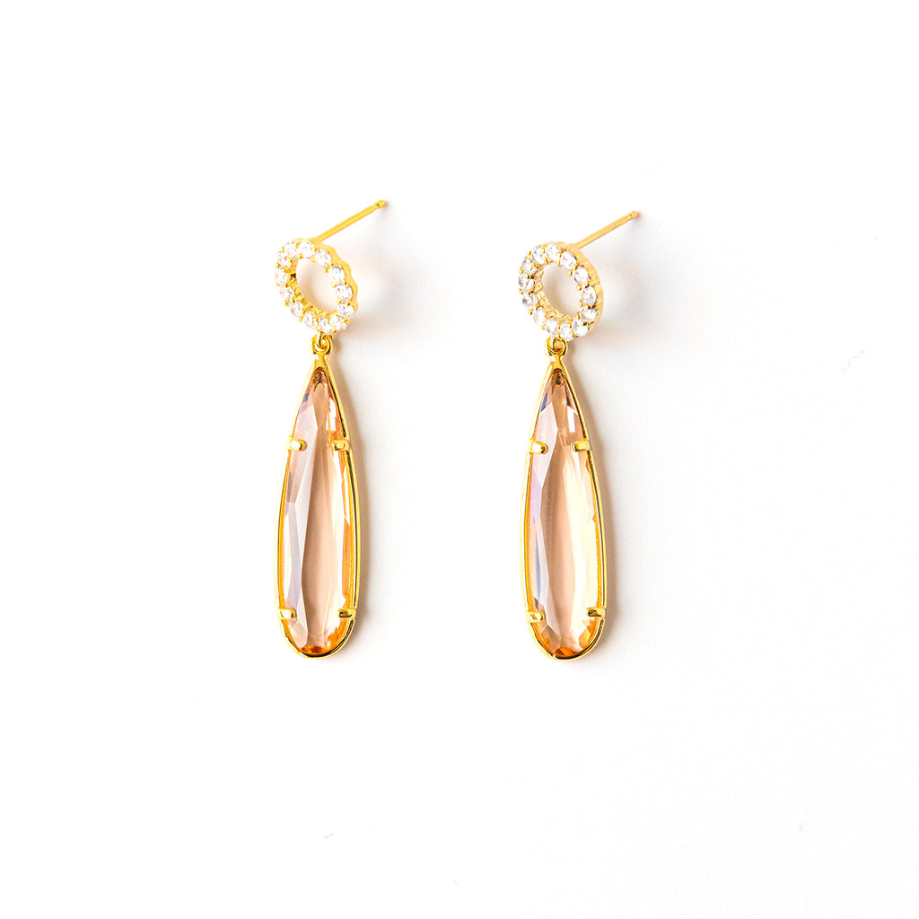 Swarovski Post Hoop Champagne Drop Earrings