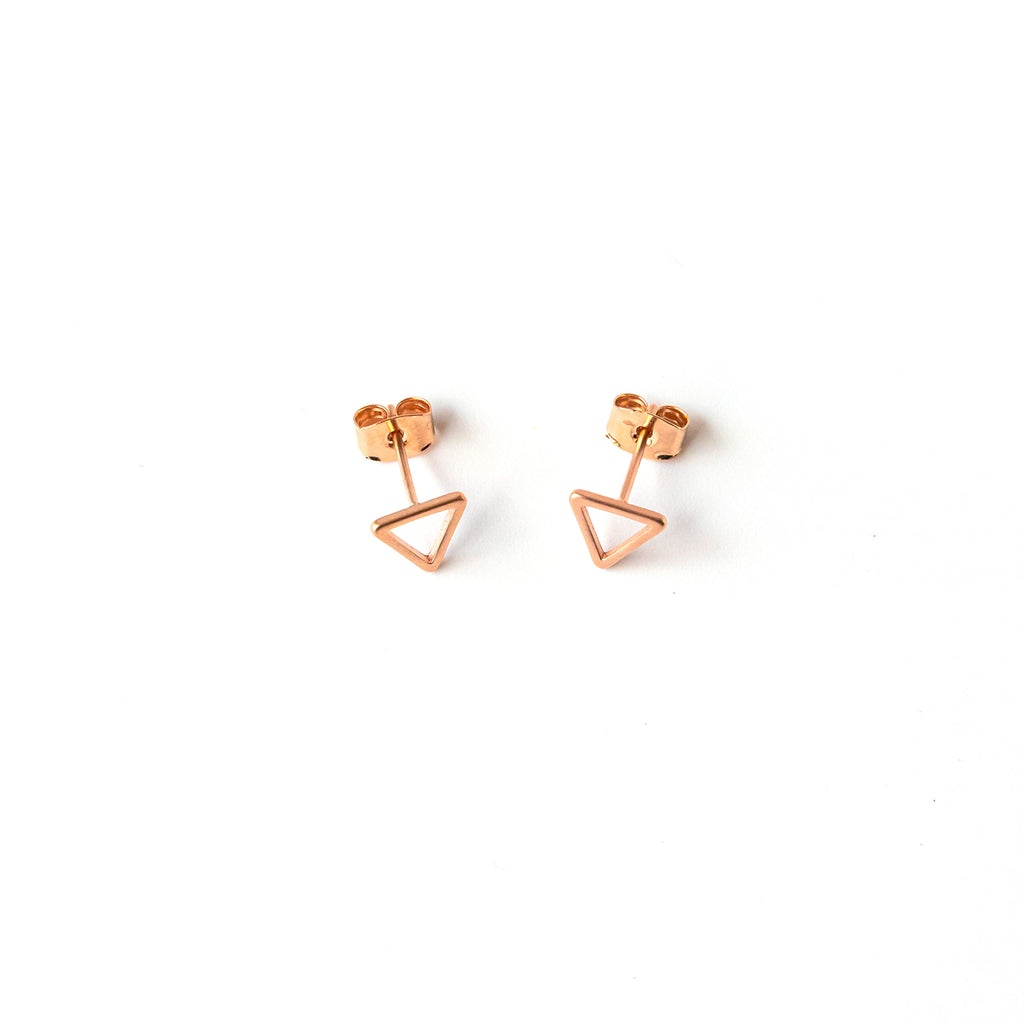Rose Gold Triangle Post Earrings