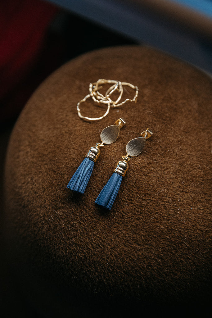 Gold Post with Navy Tassel Earrings
