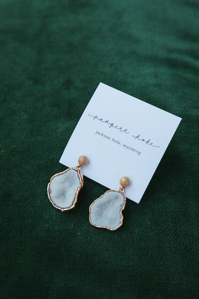 Geometric Post Drusy Drop Earrings