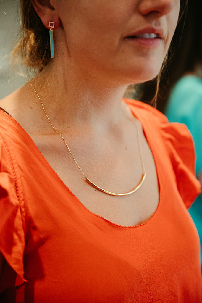 Long Gold Curved Bar Necklace