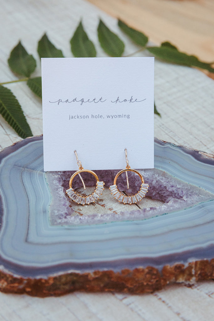 Crystal Detailed Gold Earrings