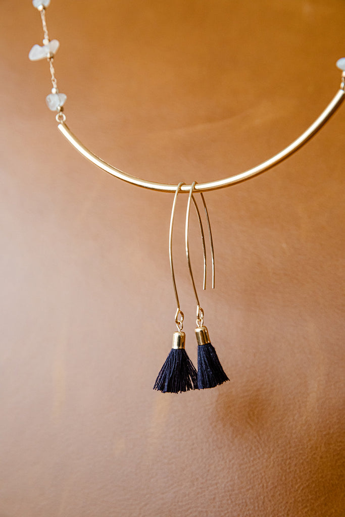 Dark Navy Long Tassel Dangle Earrings