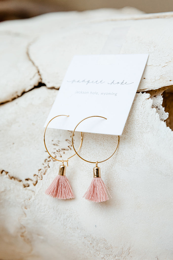 Big Hoop Violet Tassel Earrings