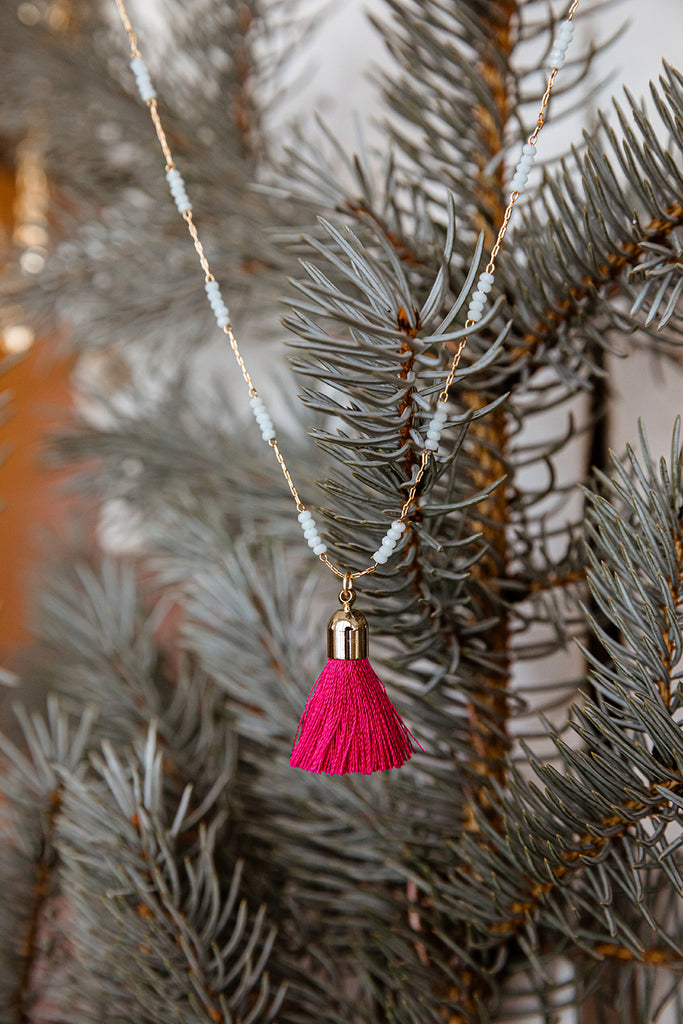 Turquoise Beaded Hot Pink Tassel Necklace