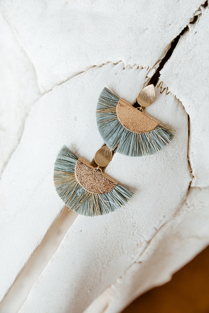 Sea Green Fan Earrings