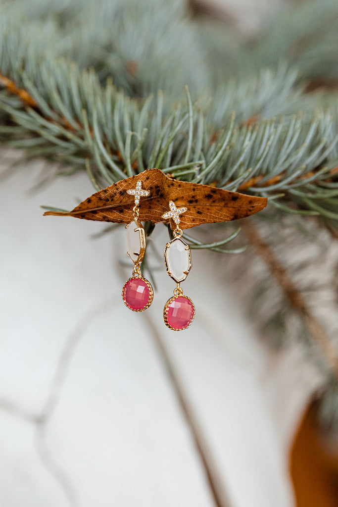 Swiss Crystal Cross, White Smoke and Pink Drop Earrings