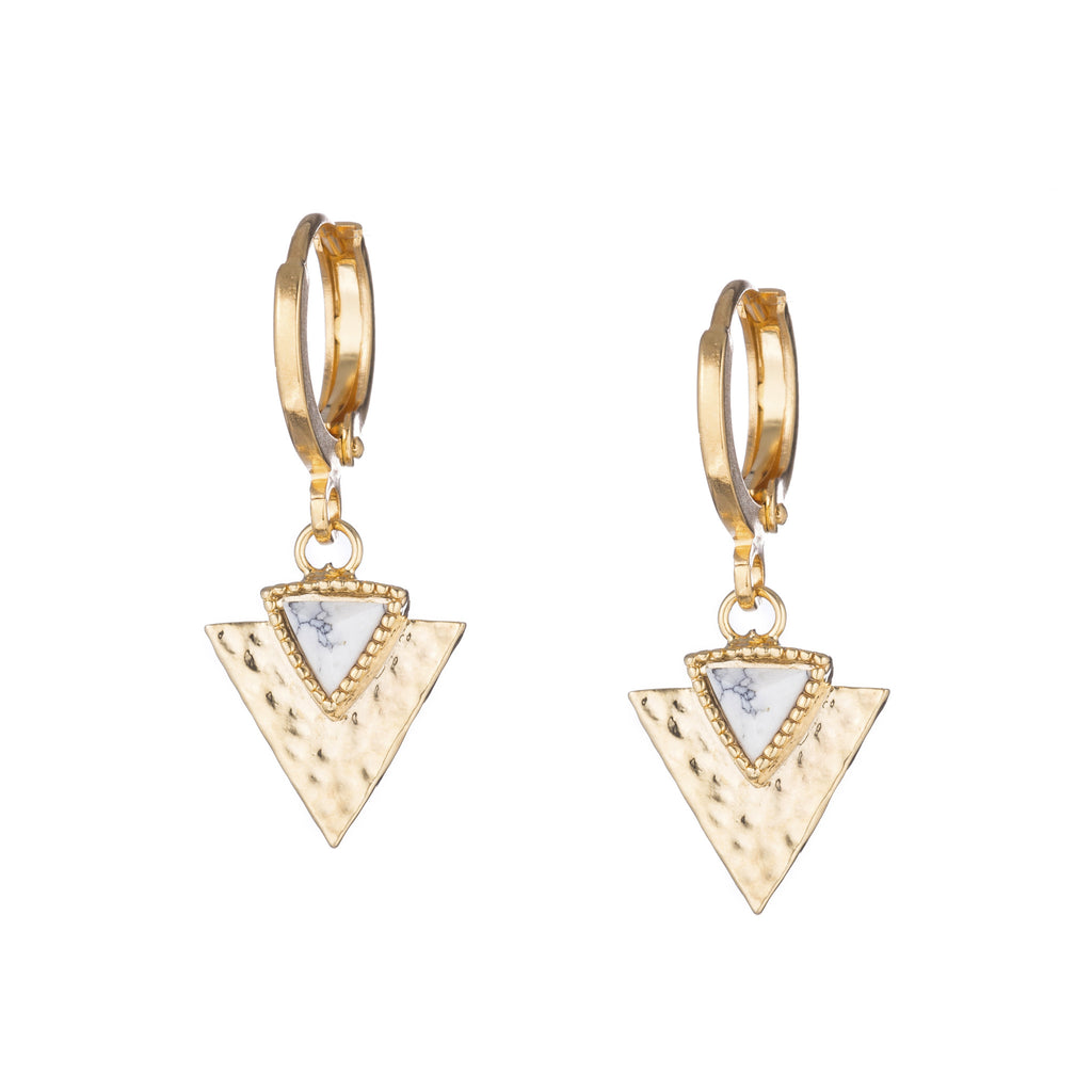 Triangle Gold Howlite Detail Dangle Earrings