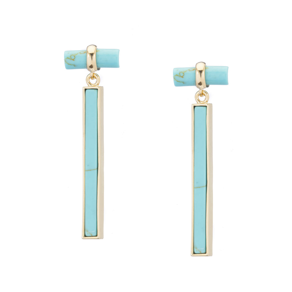 Turquoise Post Earrings with Turquoise Drop