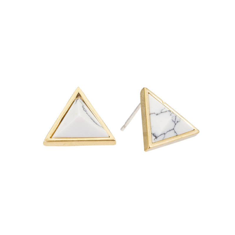 Howlite Triangle Post Earrings