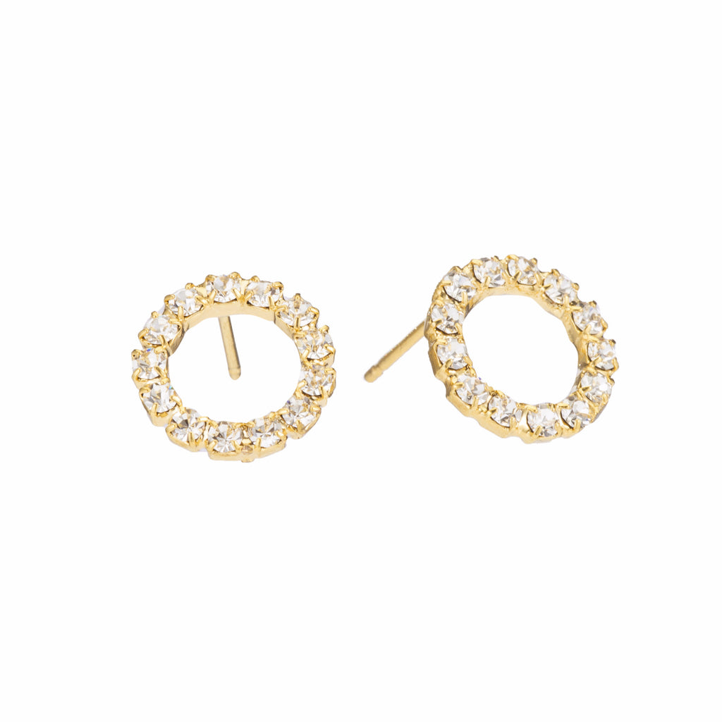Swarovski Crystal Sparkle Small Hoop Gold Post Earrings