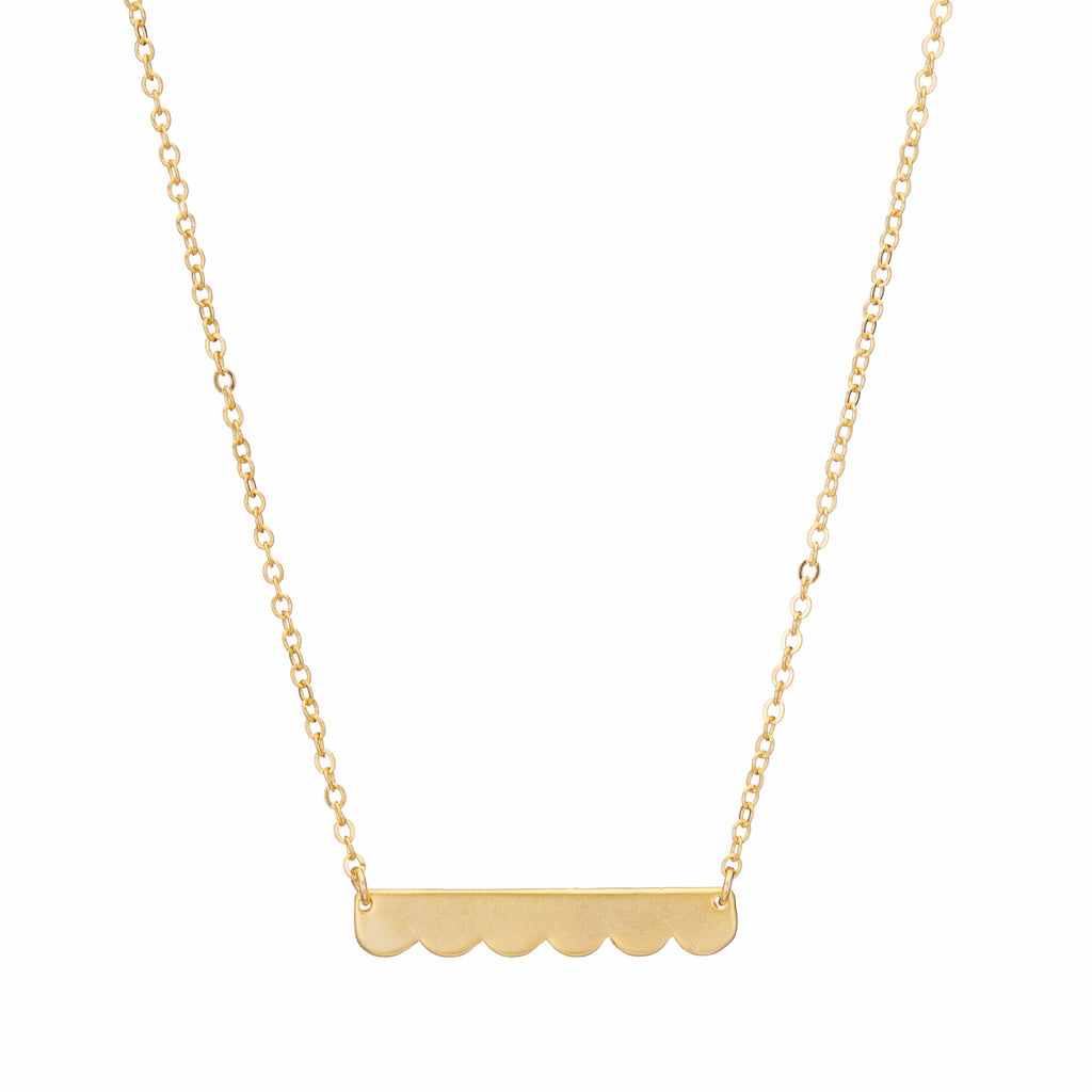 Gold Scalloped Bar Necklace
