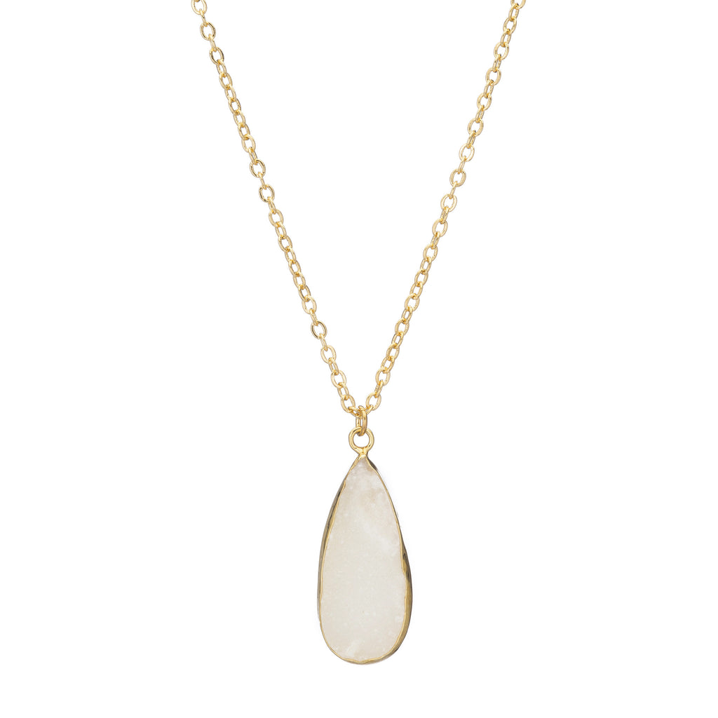 Teardrop Drusy Pendant Necklace