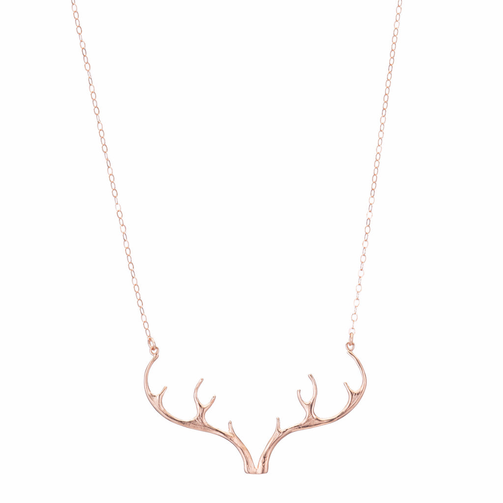 Rose Gold Antler Necklace