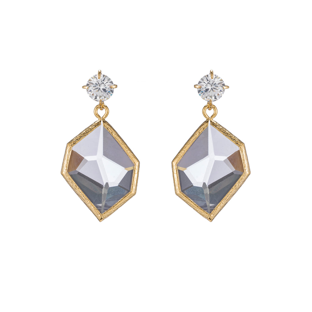 Elegant Crystal Post with Clear Geometric Drop Earrings