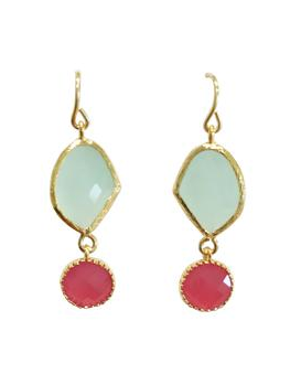 Sea Green and Pink Drop Earrings