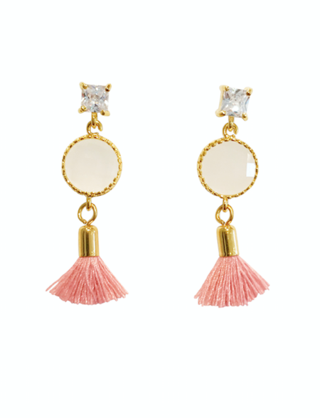 Crystal White Smoke Tassel Earrings