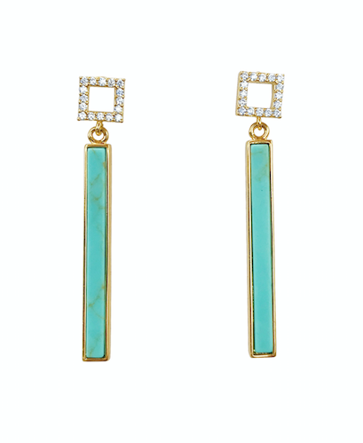 Square Crystal Post with Turquoise Drop