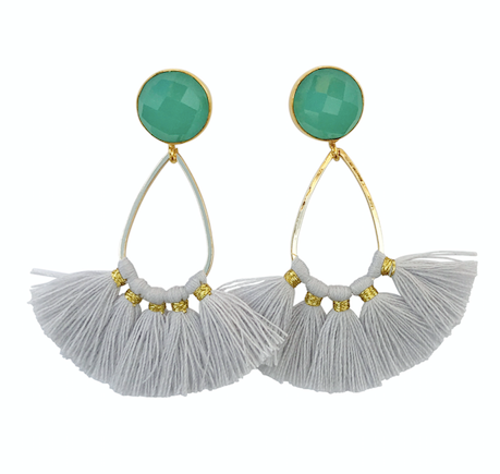 Turquoise Post with Grey Tassel Drops