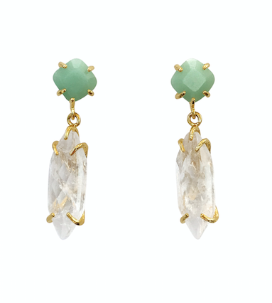 Sea Green and Opaque Crystal Raw Drops