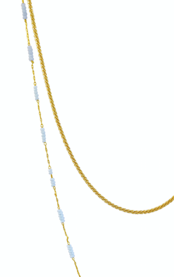 Double Drop Sea Green and Gold Chain Necklace