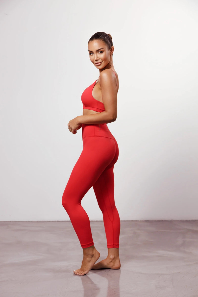 Red High Rise Tights
