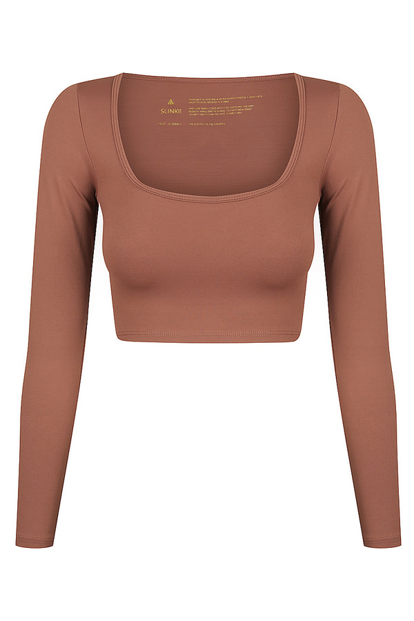 Cacao Long Sleeve Crop