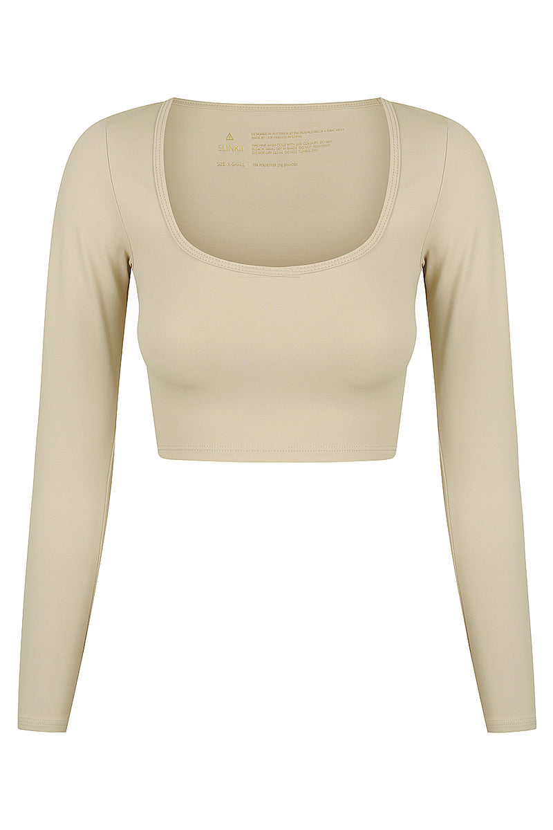 Olive Long Sleeve Crop