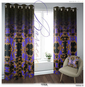 Baroque Gold Decorative Purple PREMIUM Curtain. Available on 12 Fabrics. Heavy And Sheer. 100044B