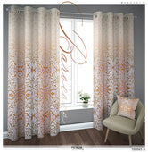 Baroque Floral Pattern Beige PREMIUM Curtain. Available on 12 Fabrics. Sheer & Heavy. 100045A