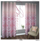 Baroque Floral Pattern Fuchsia PREMIUM Curtain. Available on 12 Fabrics. Sheer & Heavy. 100045B